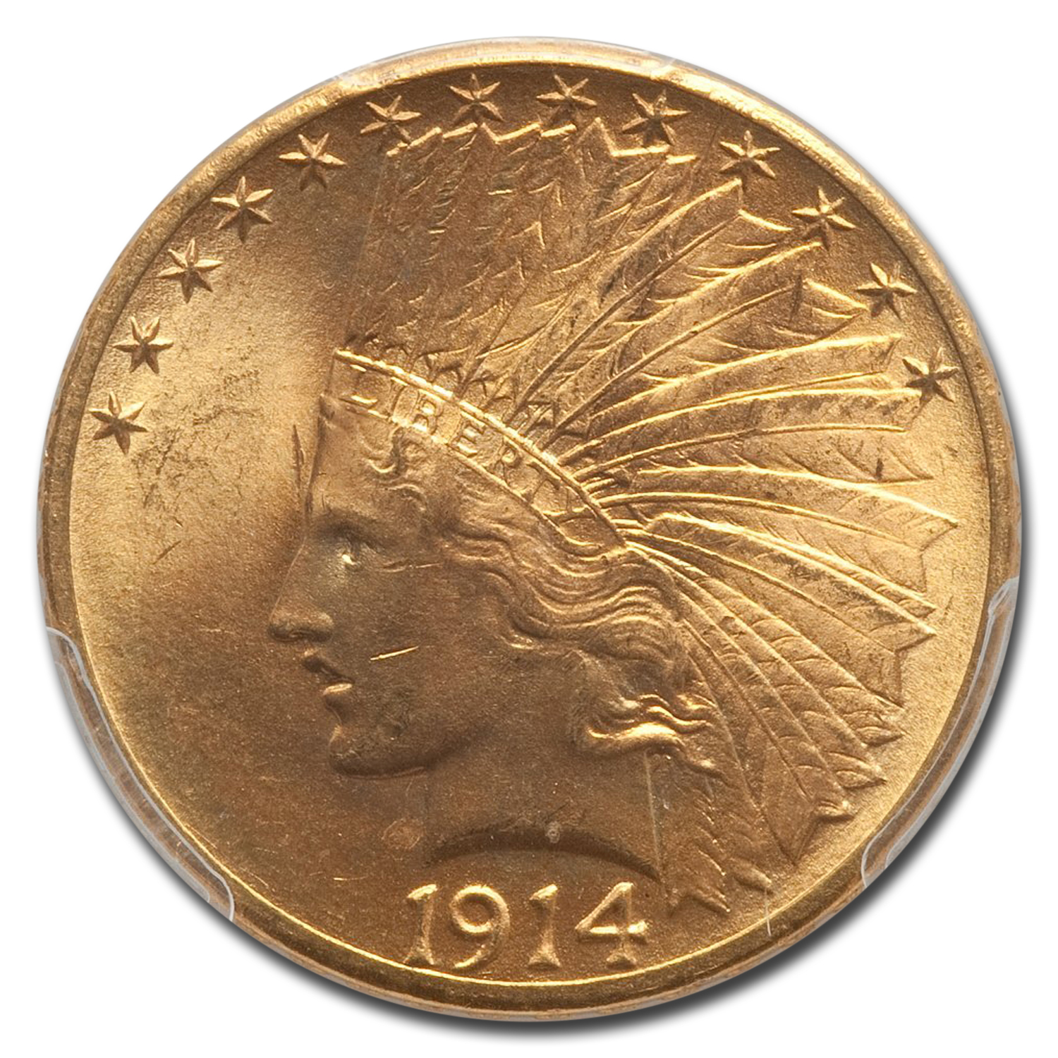 1914-D $10 Indian Gold Eagle MS-64 PCGS