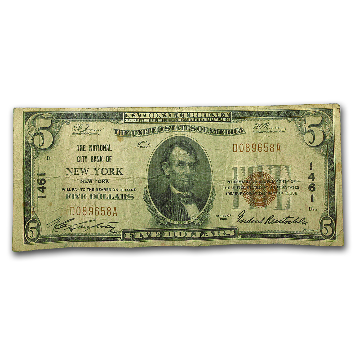 1929 Type 1 $5.00 New York, NY VG (CH#1461)