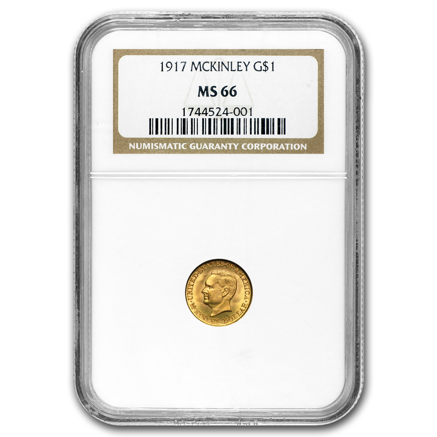 1917 Gold $1.00 McKinley MS-66 NGC