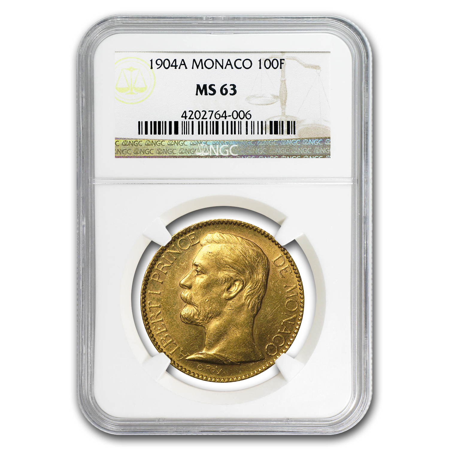 1904-A Monaco Gold 100 Francs Albert I MS-63 NGC