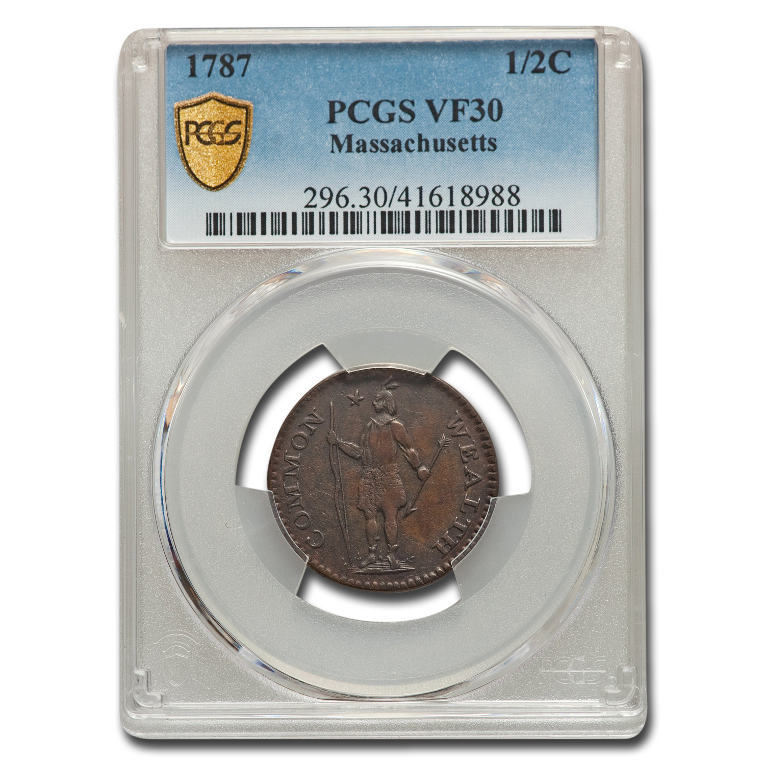 1787 Massachusetts Half Cent VF-30 PCGS