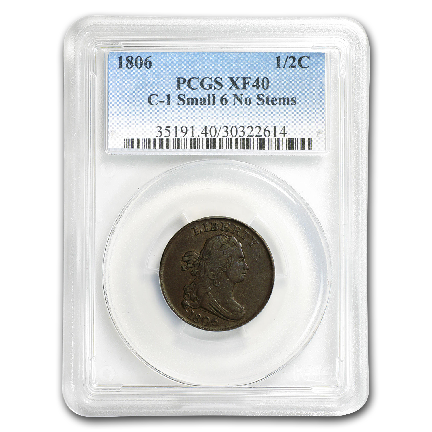 1806 Half Cent Small 6 Stemless XF-40 PCGS