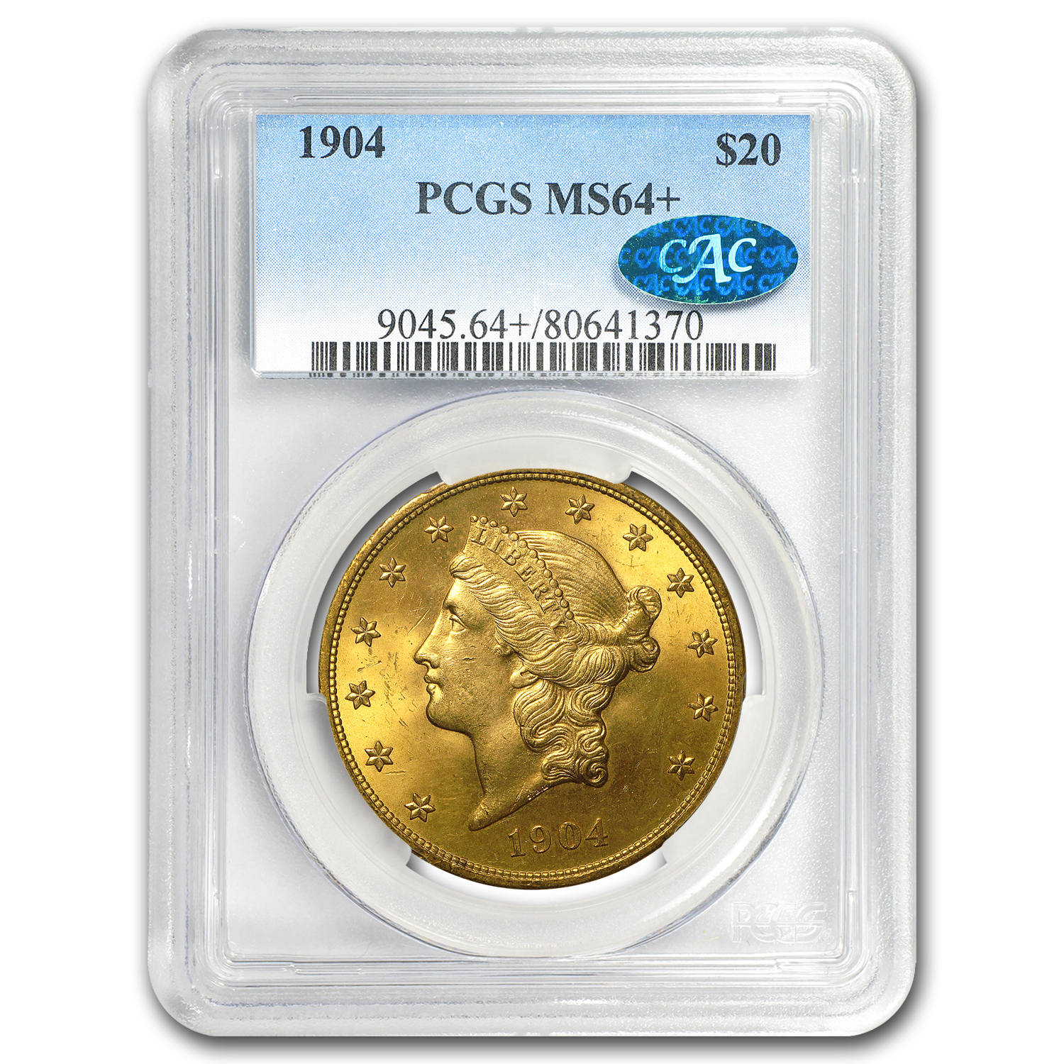 $20 Liberty Gold Double Eagle MS-64+ PCGS (CAC, Random)