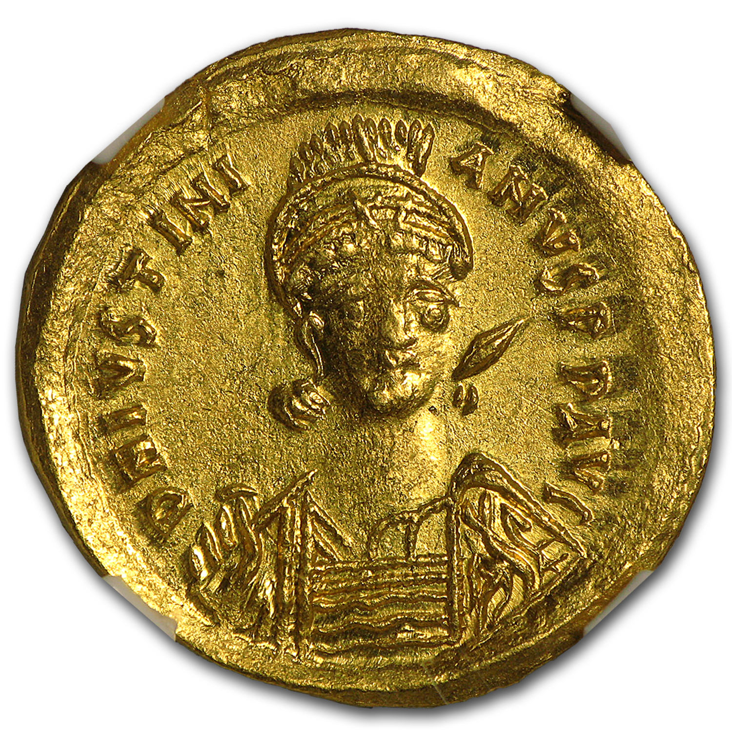 Byzantine Gold Solidus Emperor Justin I (518-527 AD) MS NGC