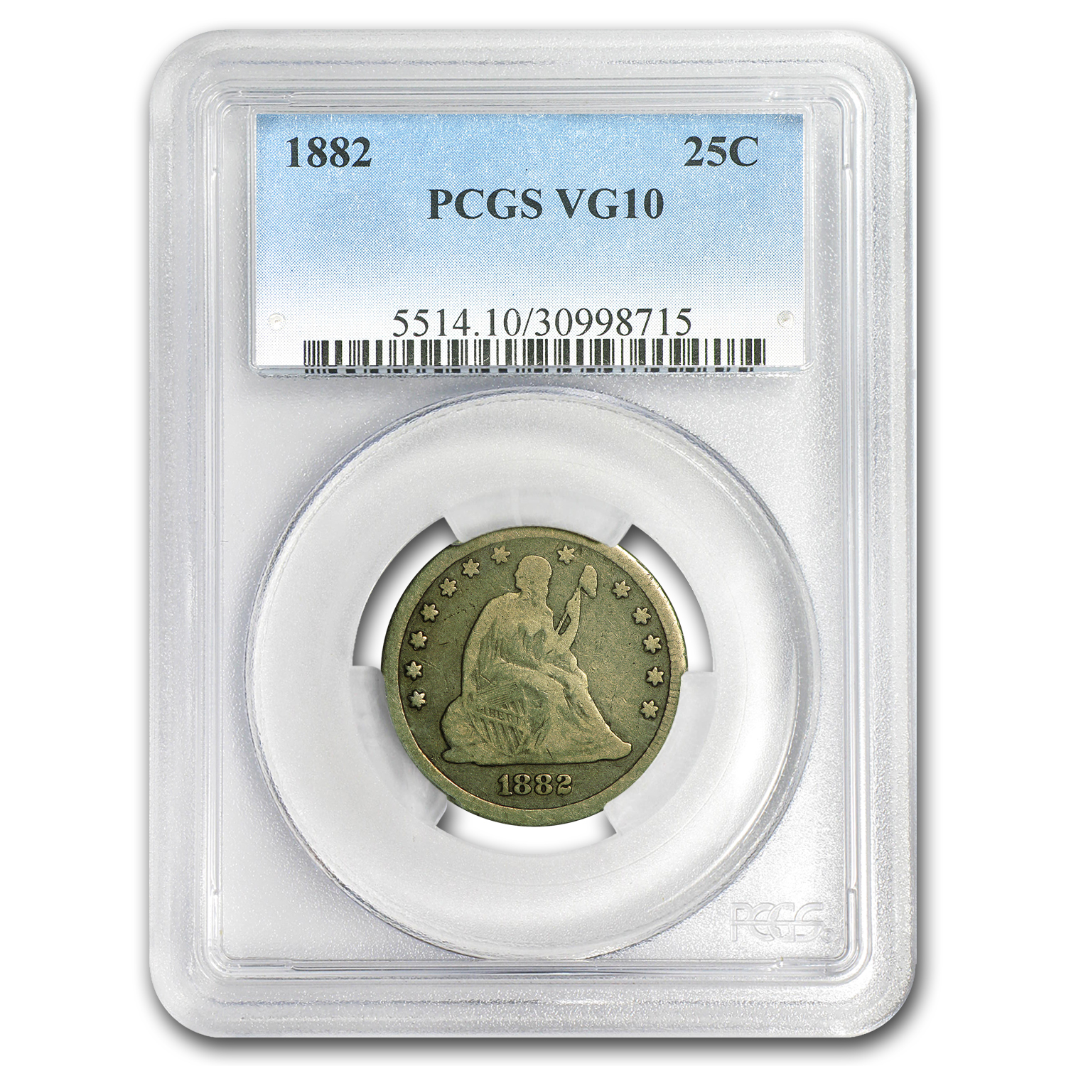 1882 Liberty Seated Quarter VG-10 PCGS