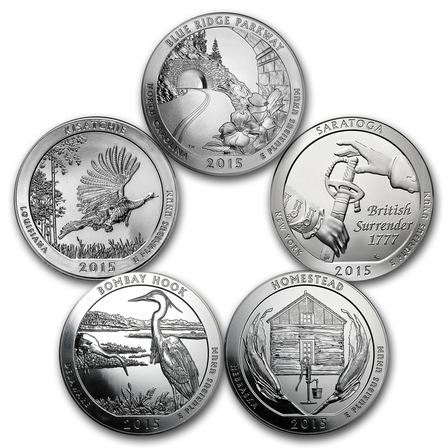 2015 5-Coin 5 oz Silver America the Beautiful Set