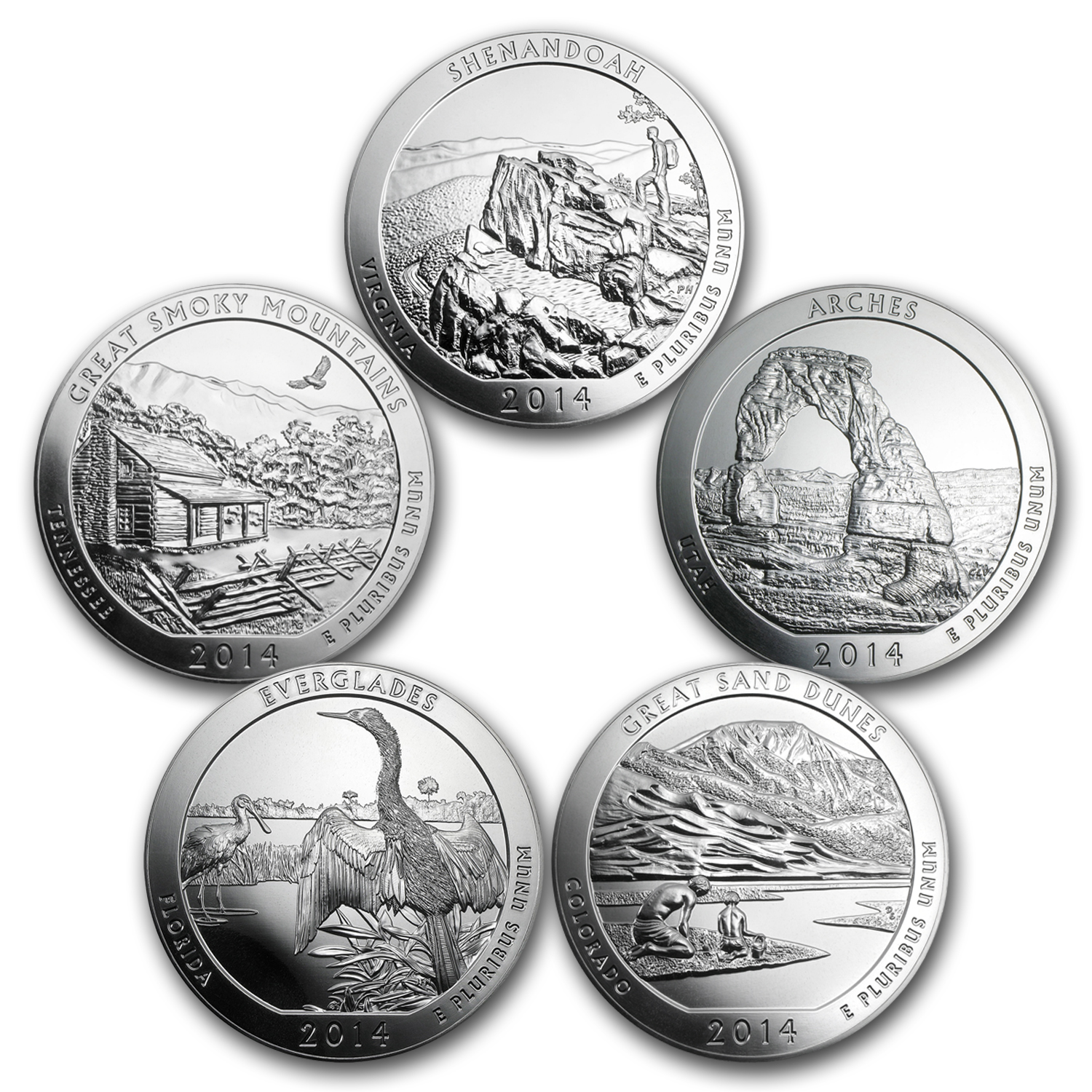 2014 5-Coin 5 oz Silver America the Beautiful Set