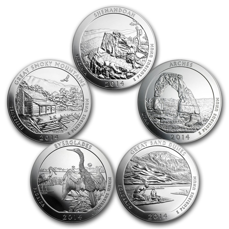 2014 Collection Of 5 Oz Silver 5 Coin Set Atb 5 Oz Silver Coins All Other Sets Apmex