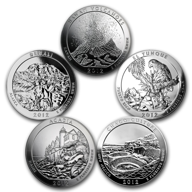 2012 Collection Of 5 Oz Silver 5 Coin Set Atb 5 Oz