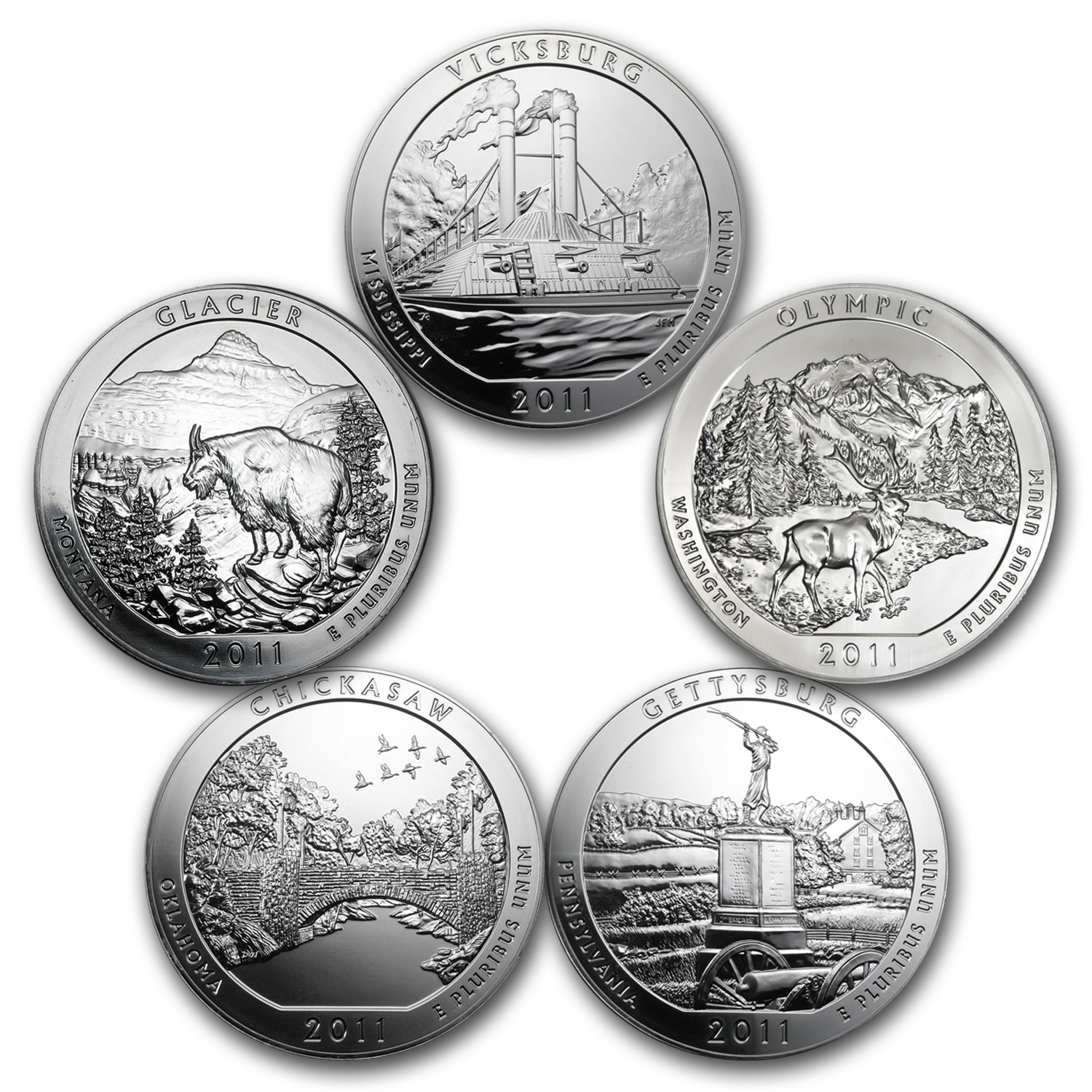 2011 5-Coin 5 oz Silver America the Beautiful Set