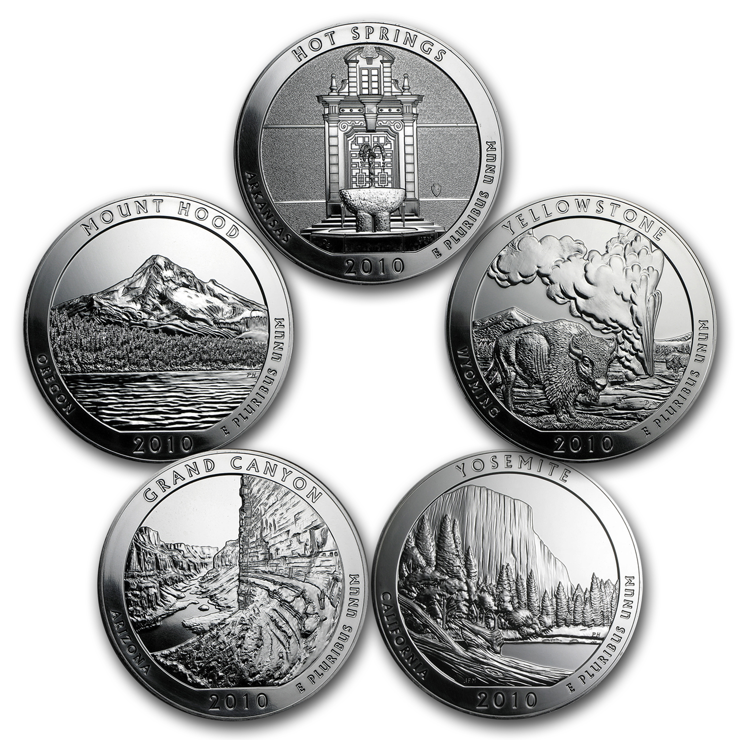 2010 5-Coin 5 oz Silver America the Beautiful Set