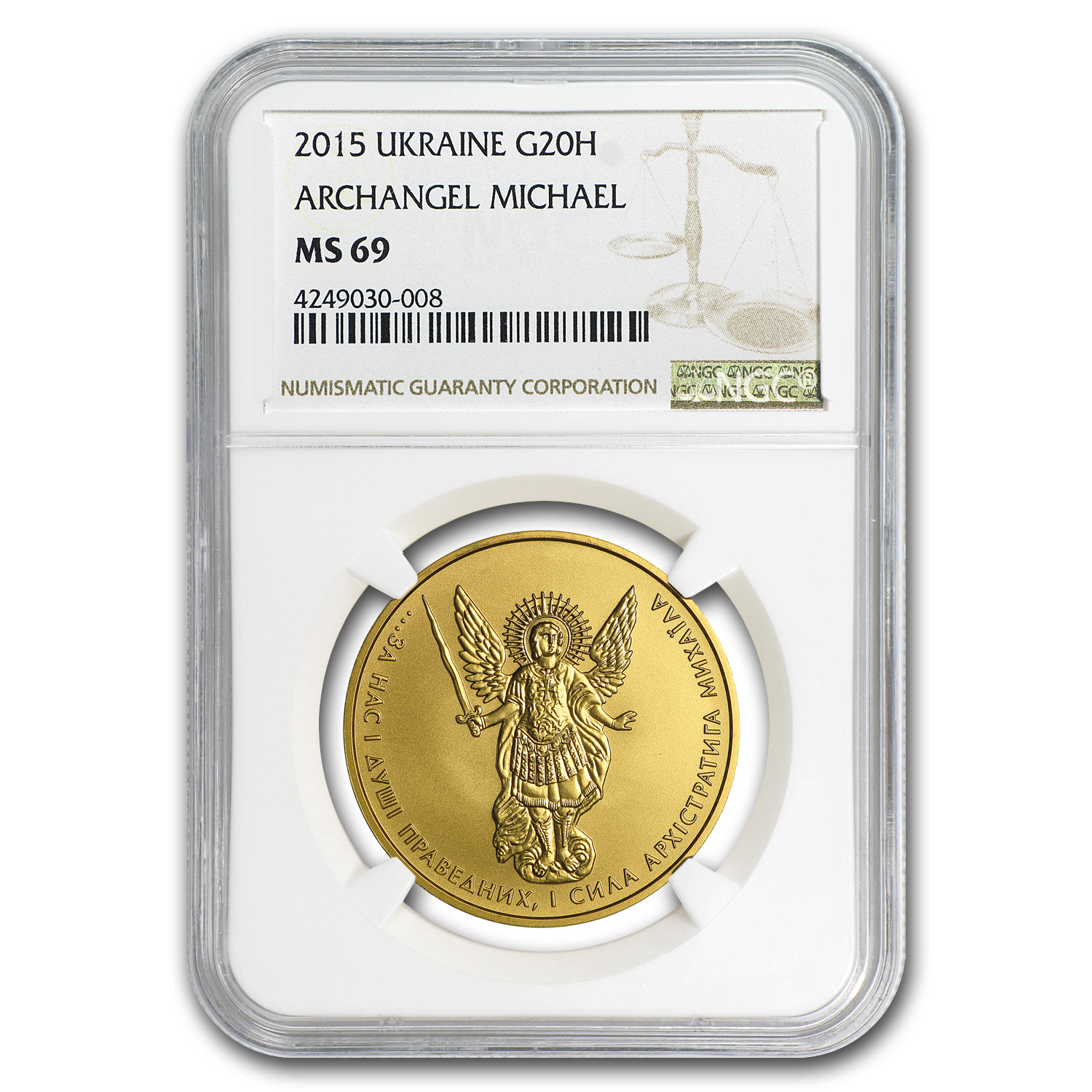 2015 Ukraine 1 oz Gold Archangel Michael MS-69 NGC
