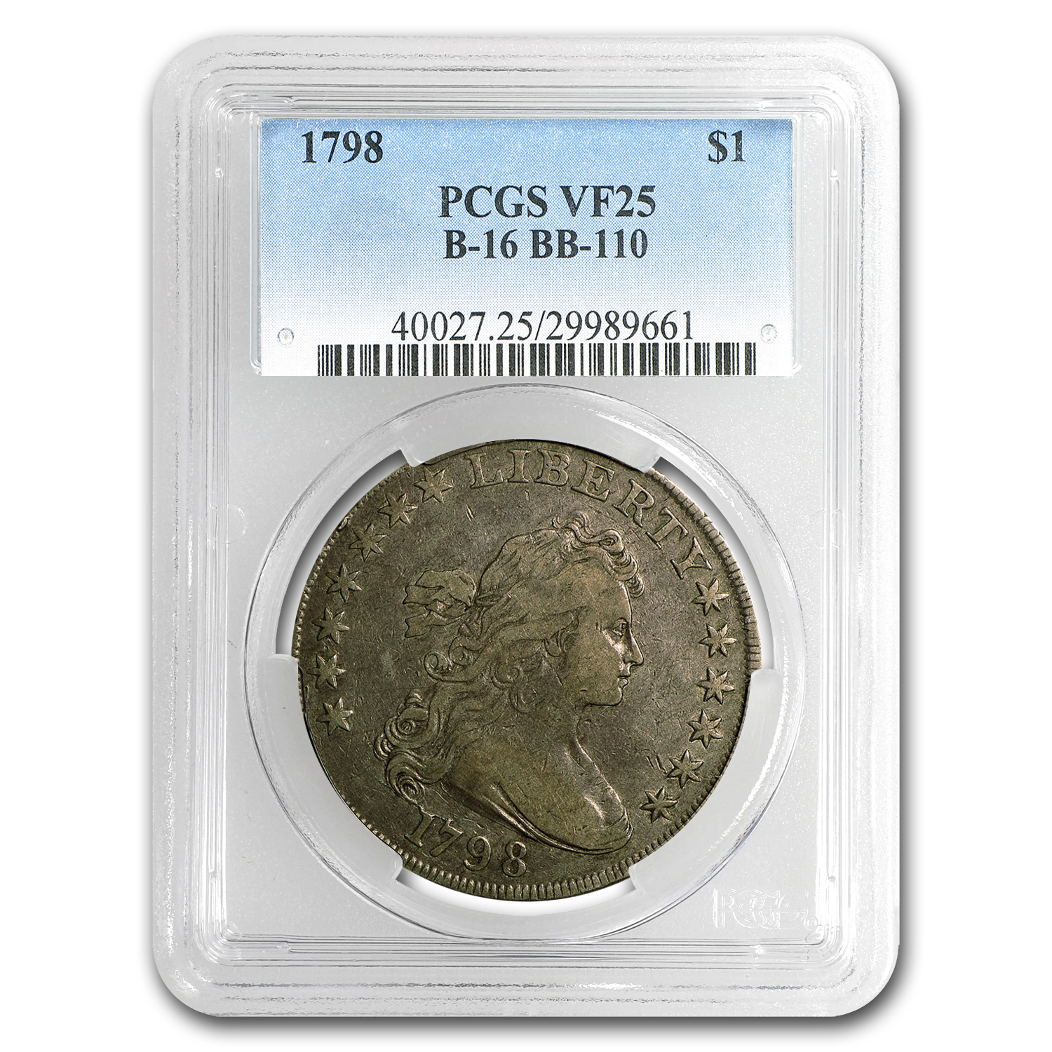 1798 Draped Bust Dollar Heraldic Eagle VF-25 PCGS