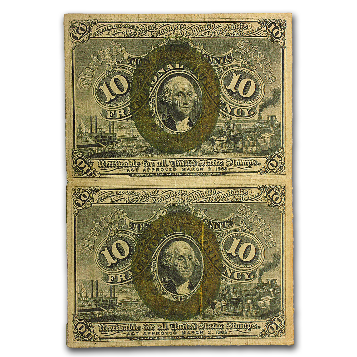 2nd Issue Fractional Currency 10 Cents VF (Uncut Pair)