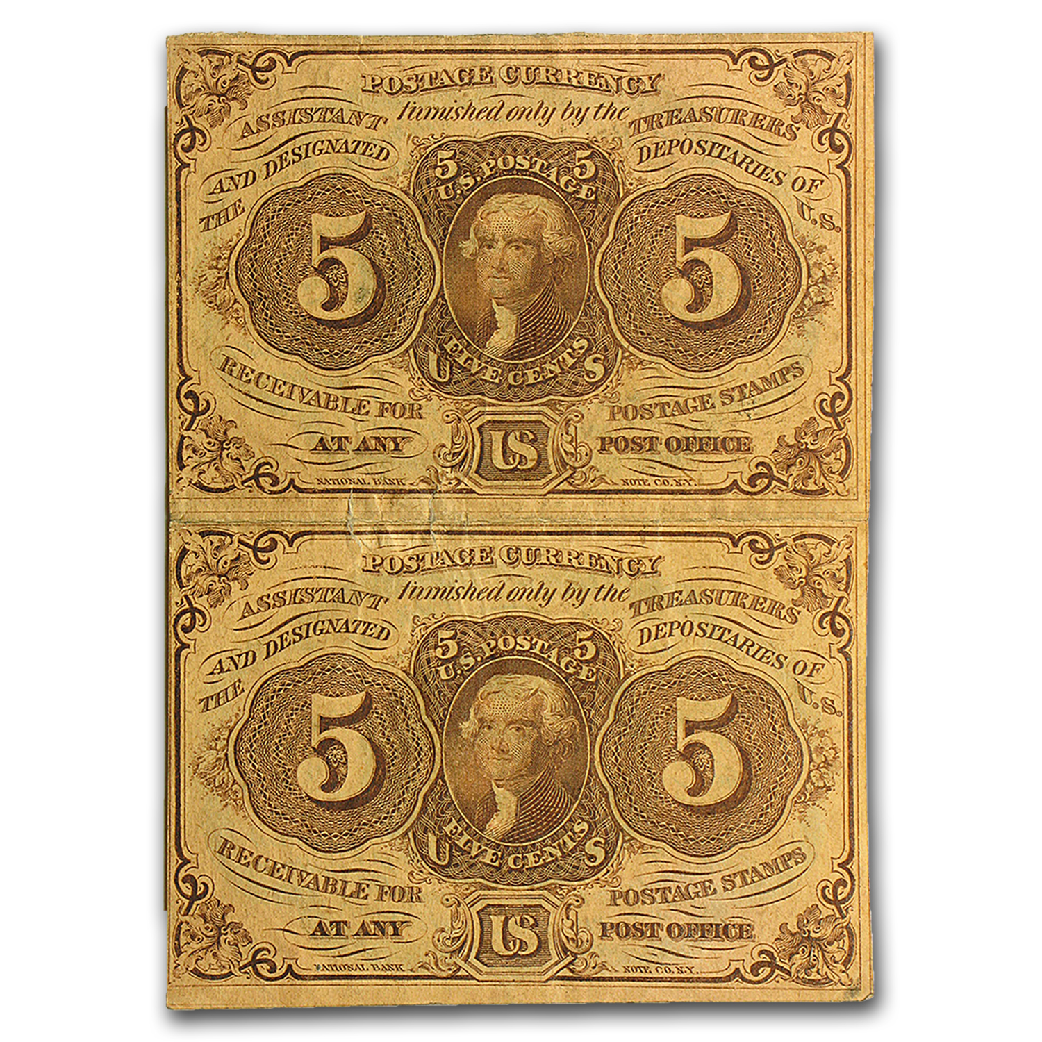 1st Issue Fractional Currency 5 Cents VF (Uncut Pair)