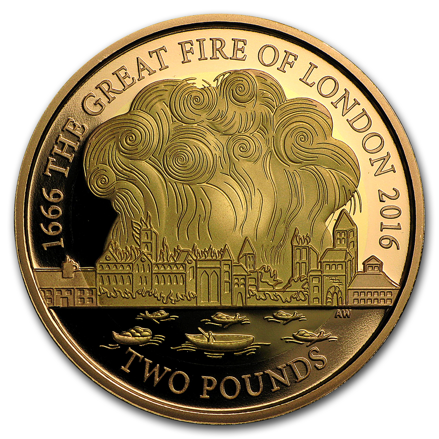 2016 Great Britain £2 Gold Great Fire of London Proof
