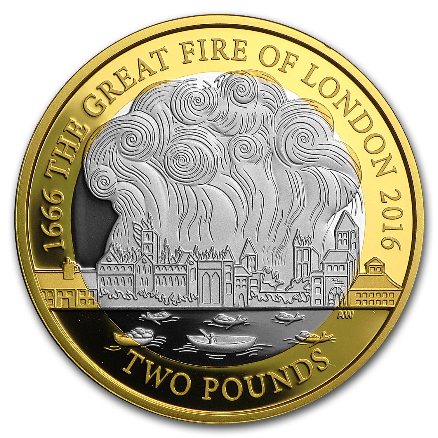 2016 Great Britain £2 Silver Great Fire of London Proof Piedfort