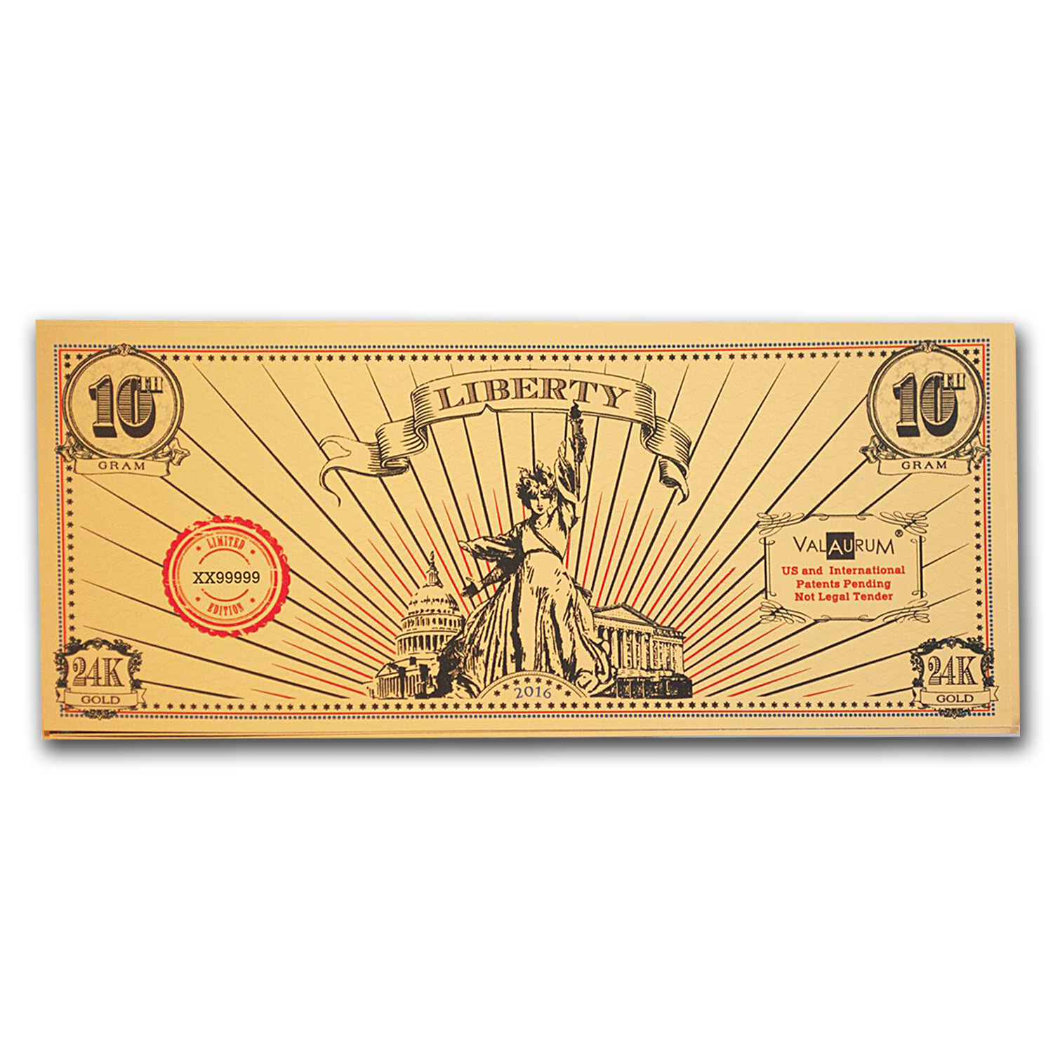 1/10 gram Gold Note - Valaurum (Lady Liberty Design, 24K)