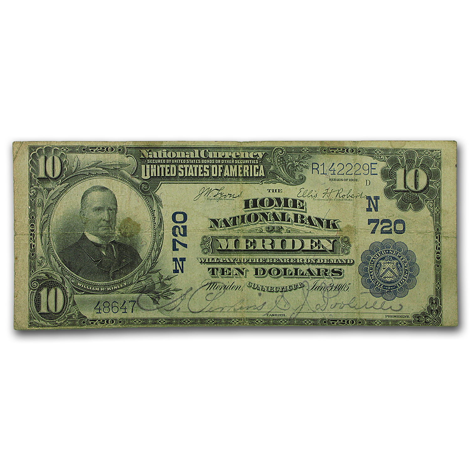 1902 Plain Back $10 Meriden, CT Fine (CH#720)