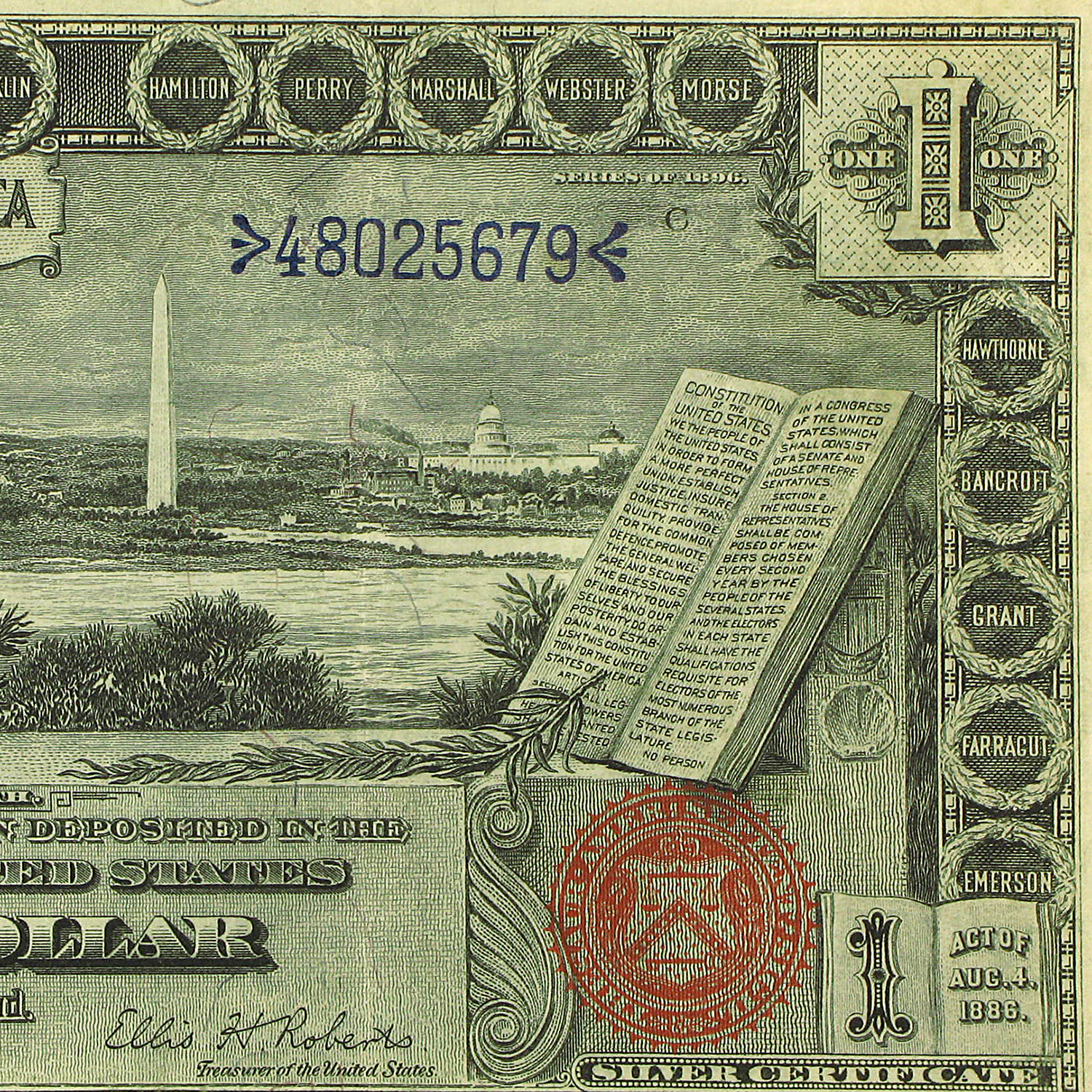 1896 $1.00 Silver Certificate Educational Note XF