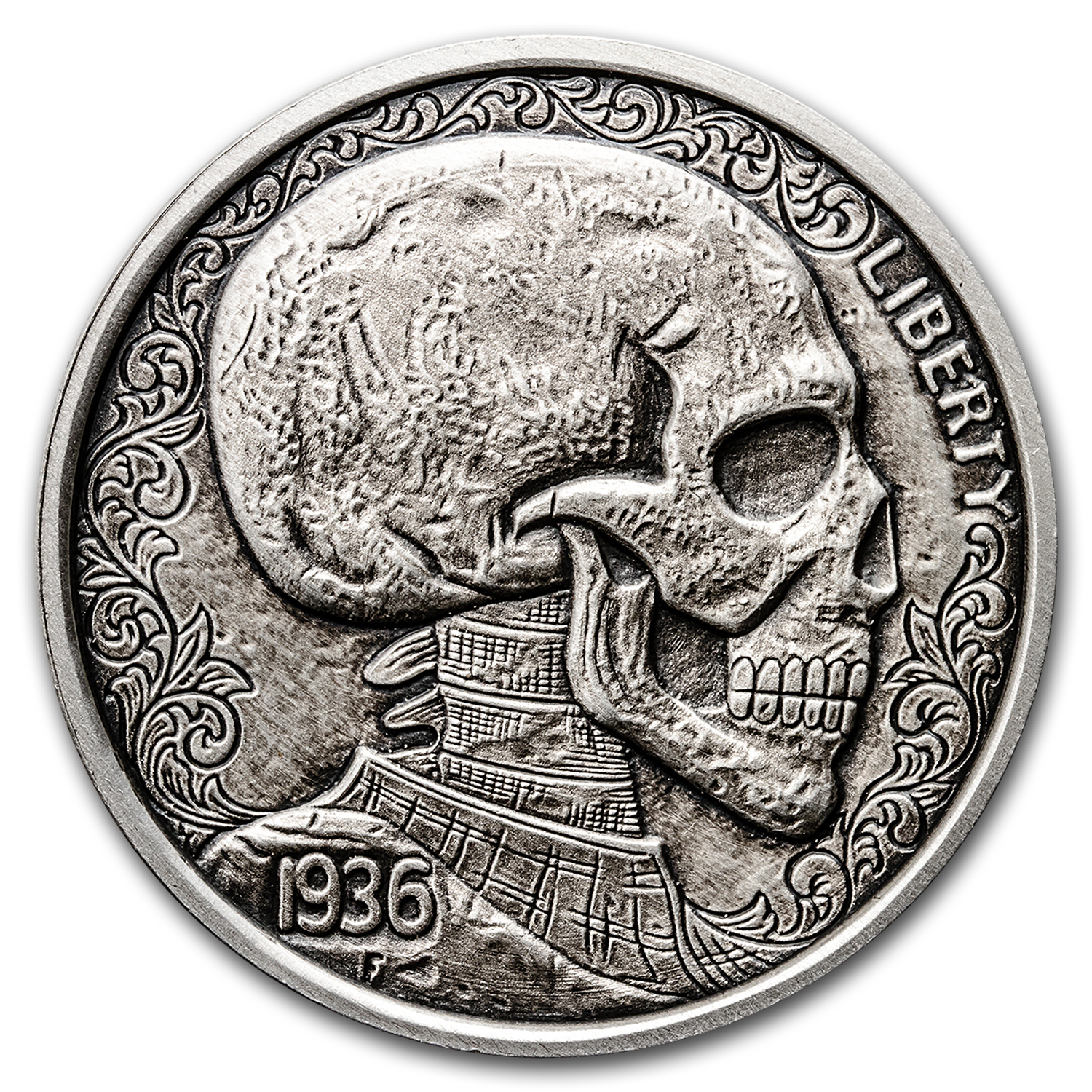 1 oz Silver Antique Round Hobo Nickel Replica (Skulls & Scrolls)
