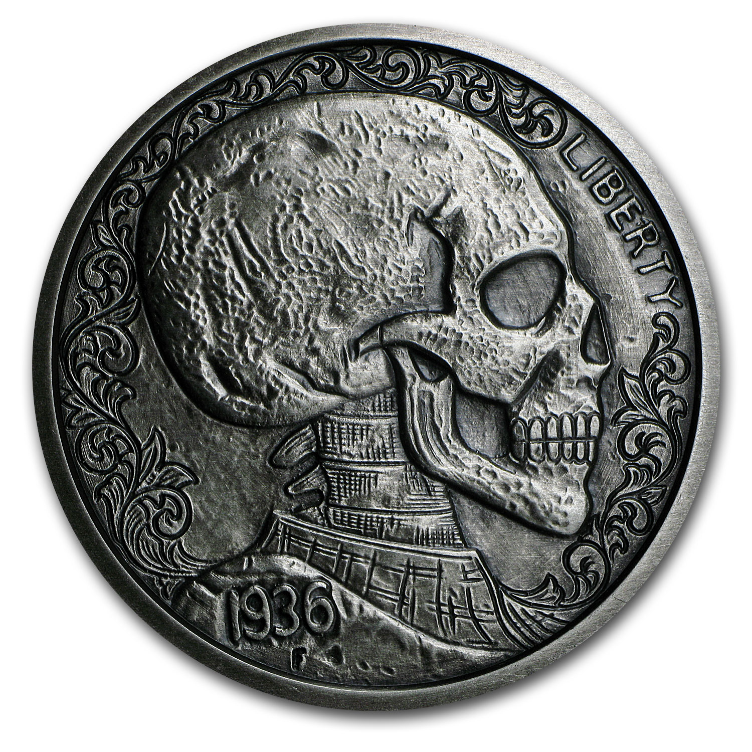 5 oz Silver Antique Round Hobo Nickel Replica (Skulls & Scrolls)