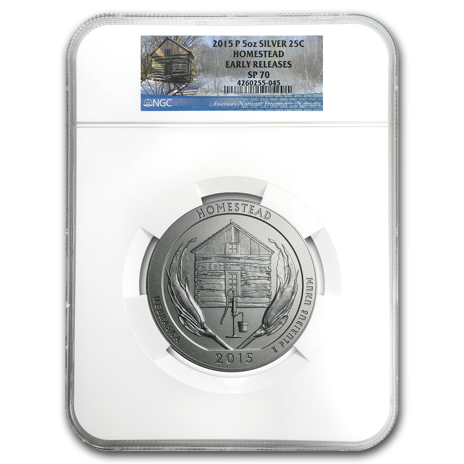 2015-P 5 oz Silver ATB Homestead SP-70 NGC (Early Release)