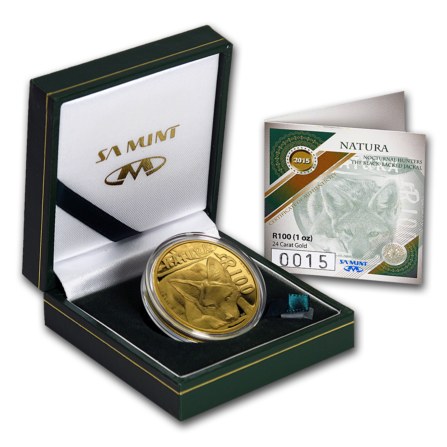 2015 S. Africa 1 oz Proof Gold Natura Nocturnal Hunters (Jackal)