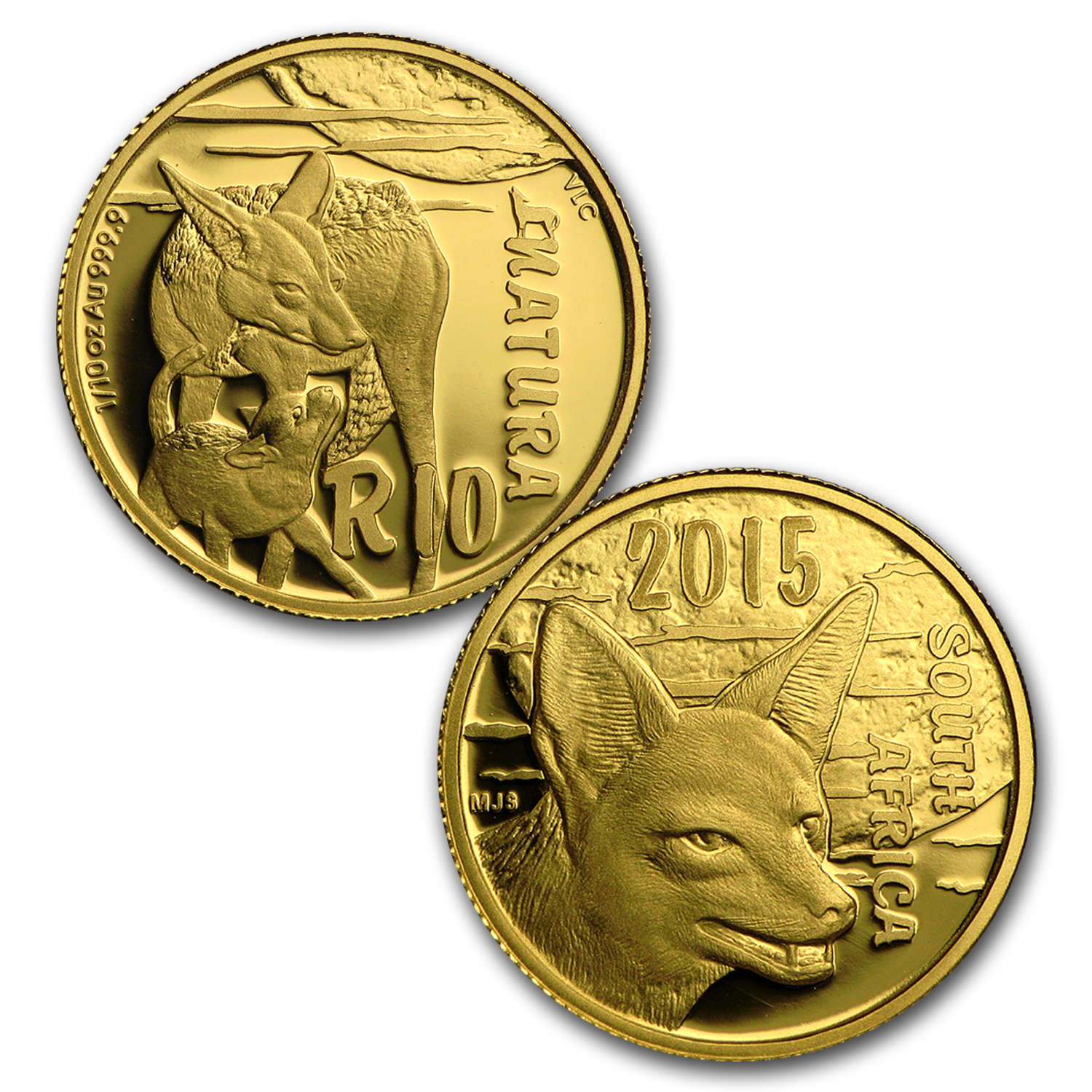 2015 South Africa 4-Coin Gold Natura Nocturnal Hunters (Jackal)