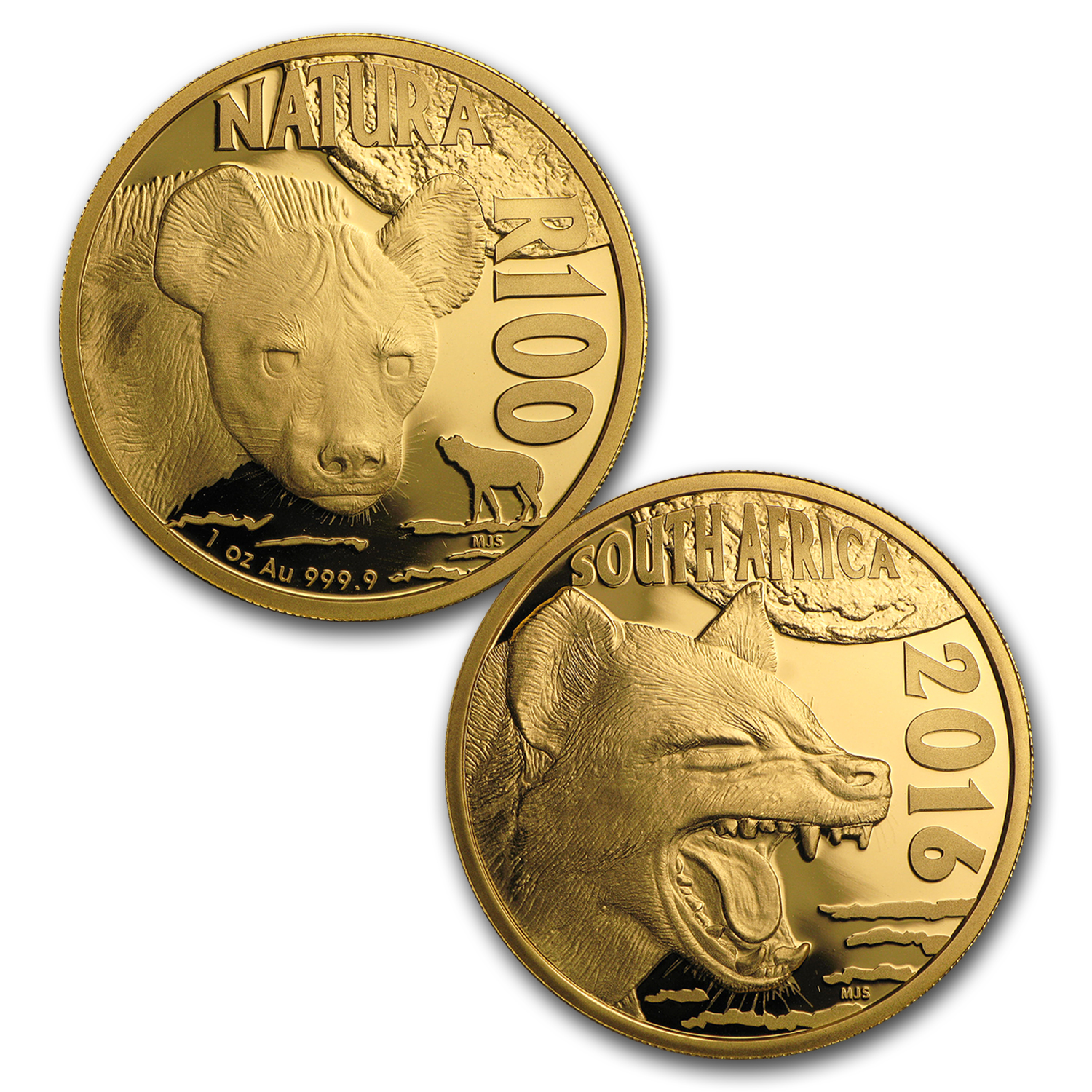 2016 South Africa 4-Coin Gold Natura Nocturnal Hunters (Hyena)