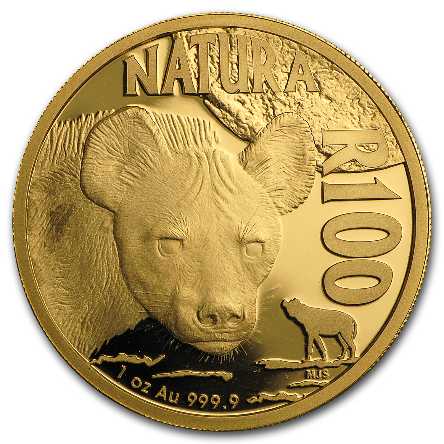 2016 S. Africa 1 oz Proof Gold Natura Nocturnal Hunters (Hyena)