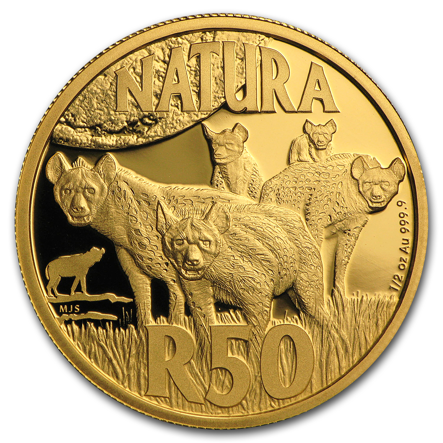 2016 S. Africa 1/2 oz Gold Natura Nocturnal Hunters (Hyena)