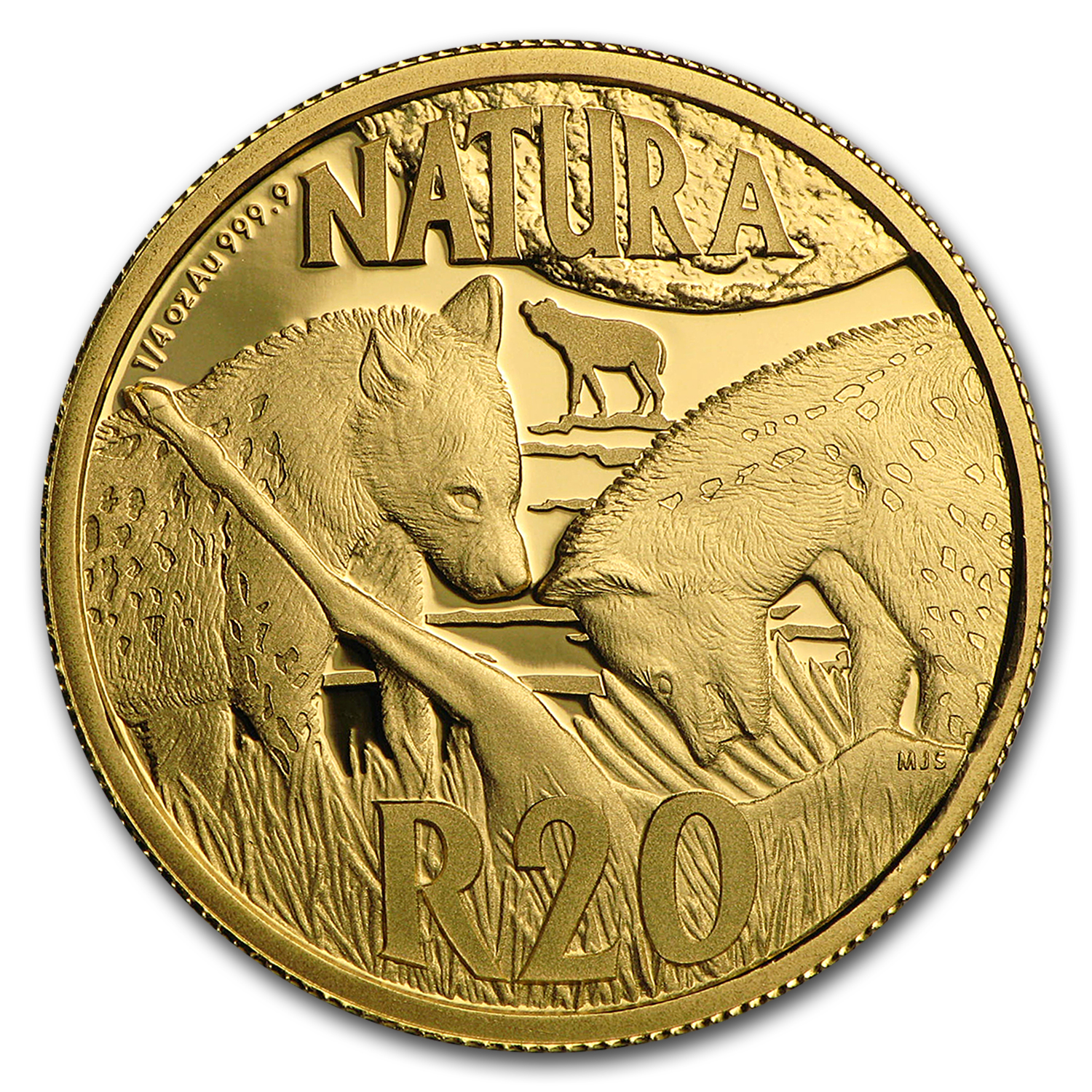 2016 S. Africa 1/4 oz Gold Natura Nocturnal Hunters (Hyena)