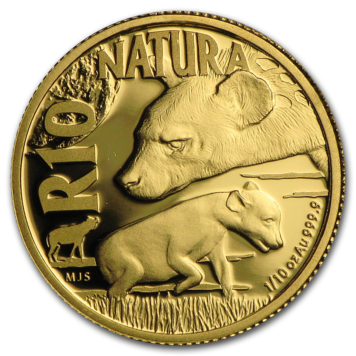 2016 S. Africa 1/10 oz Gold Natura Nocturnal Hunters (Hyena)