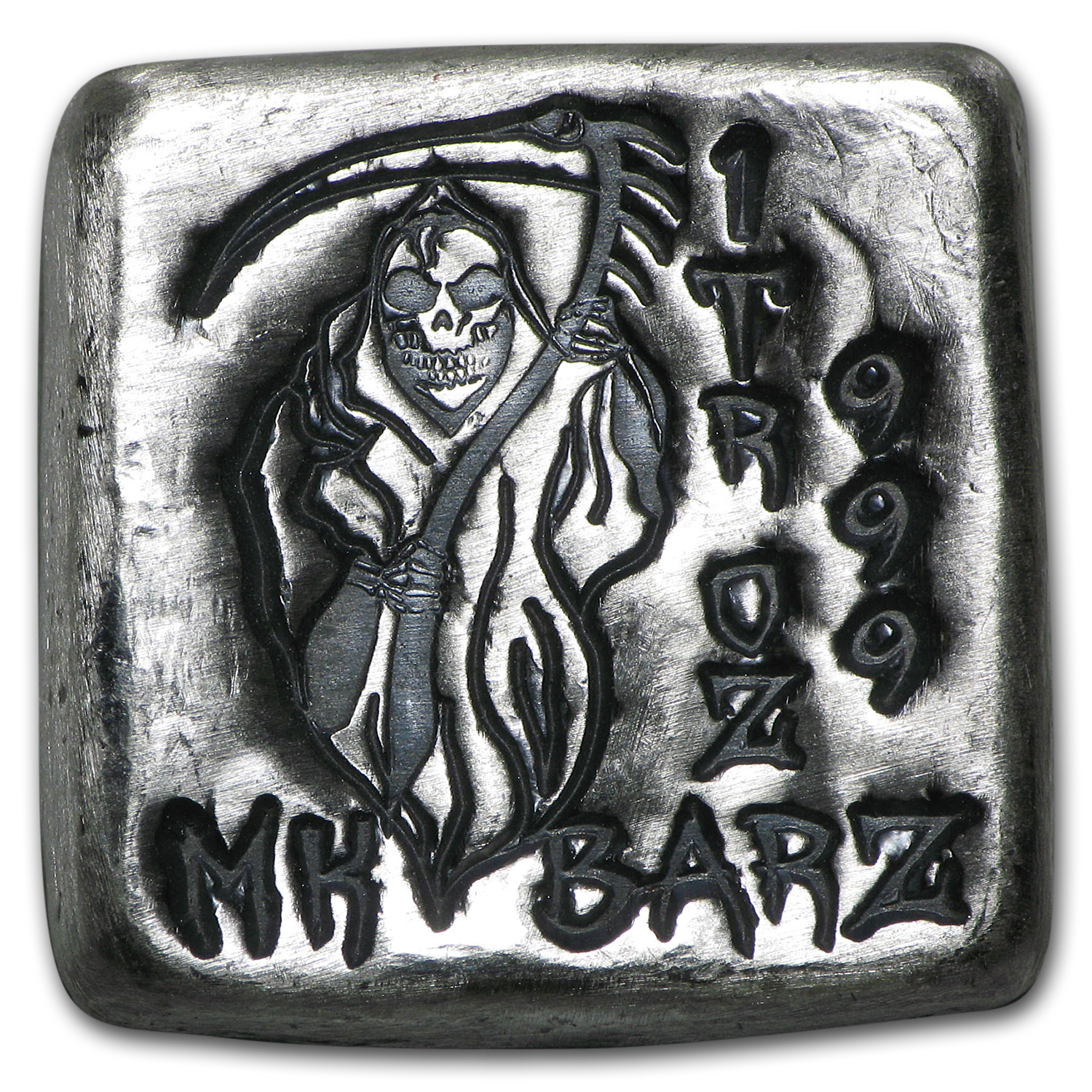 1 oz Silver Square - MK Barz (Grim Reaper, Death is Coming)