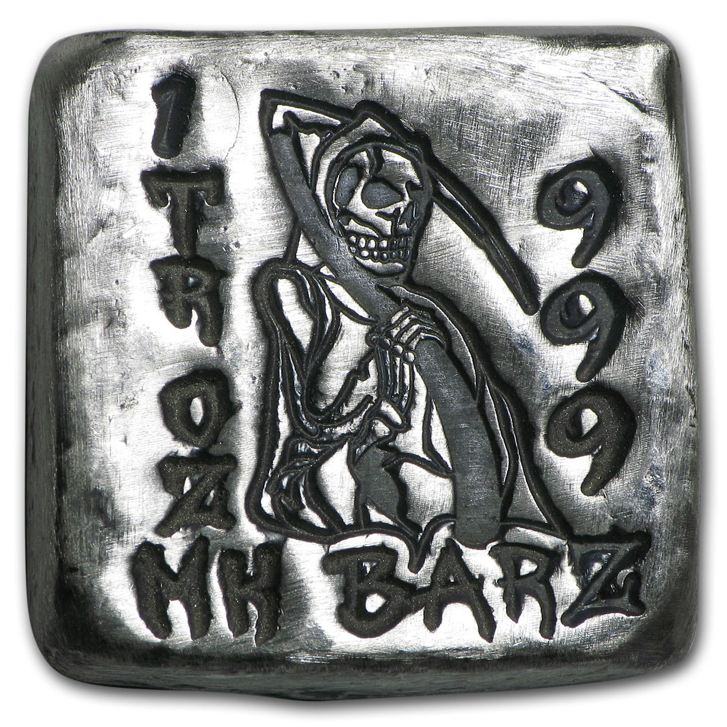 1 oz Silver Square - MK Barz (Grim Reaper, Death is Waiting)