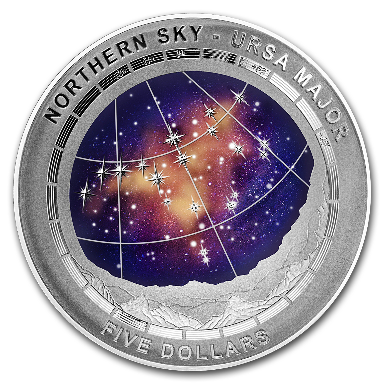 2016 Australia Silver $5 Color Domed Northern Sky Ursa Major
