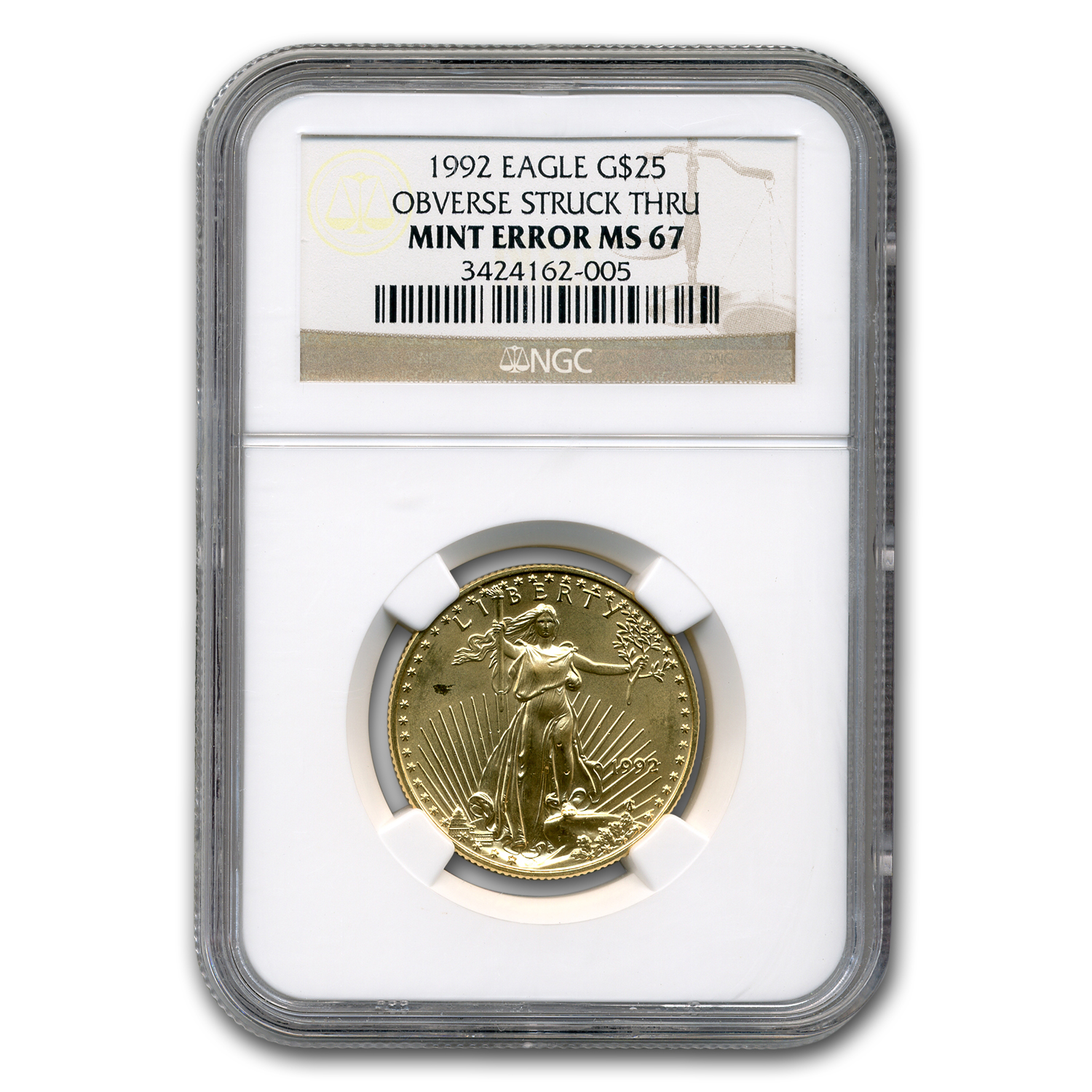 1992 1/2 oz Gold American Eagle MS-67 NGC (Obv Mint Error)