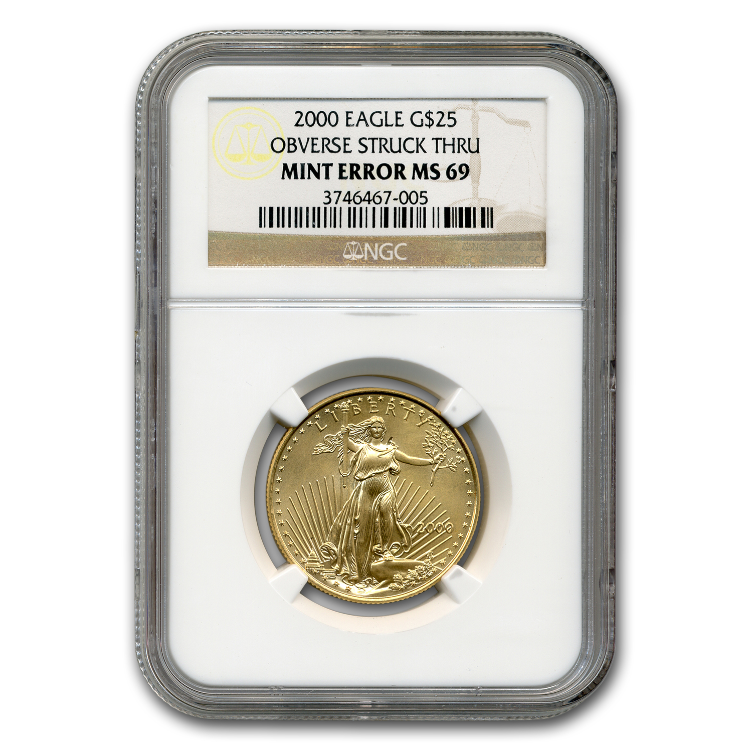 2000 1/2 oz Gold American Eagle MS-69 NGC (Obv Mint Error)