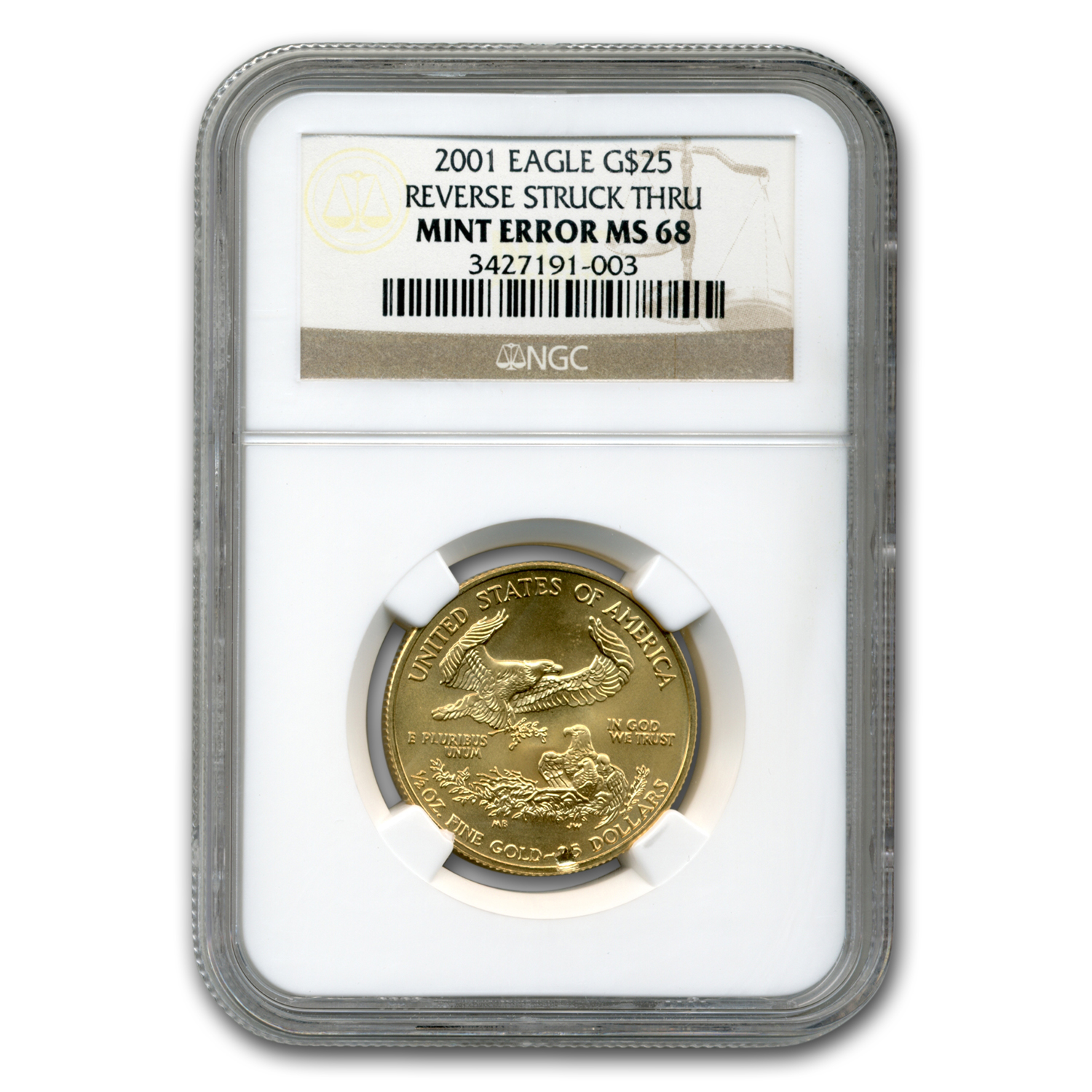 2001 1/2 oz Gold American Eagle MS-68 NGC (Obv Mint Error)