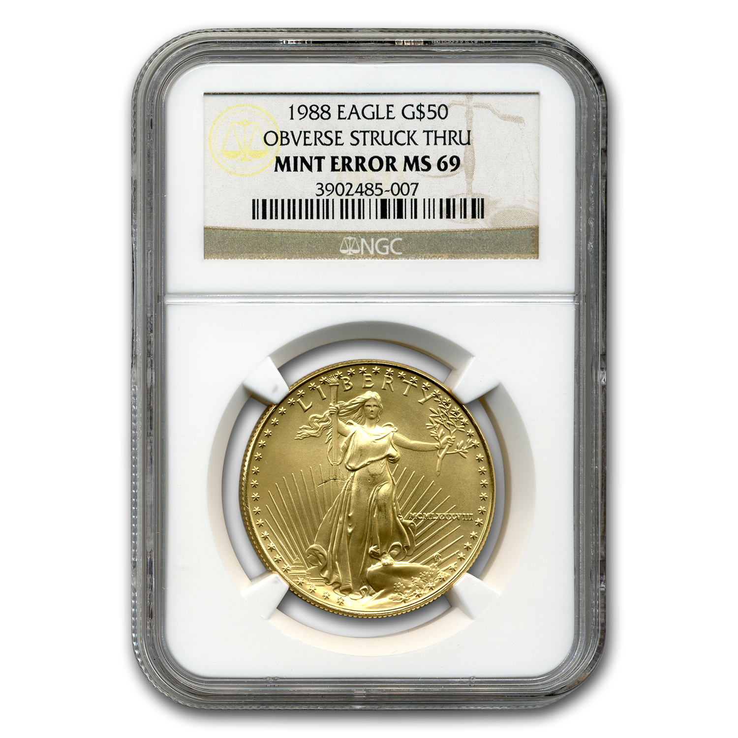 1988 1 oz Gold American Eagle MS-69 NGC (Obv Mint Error)