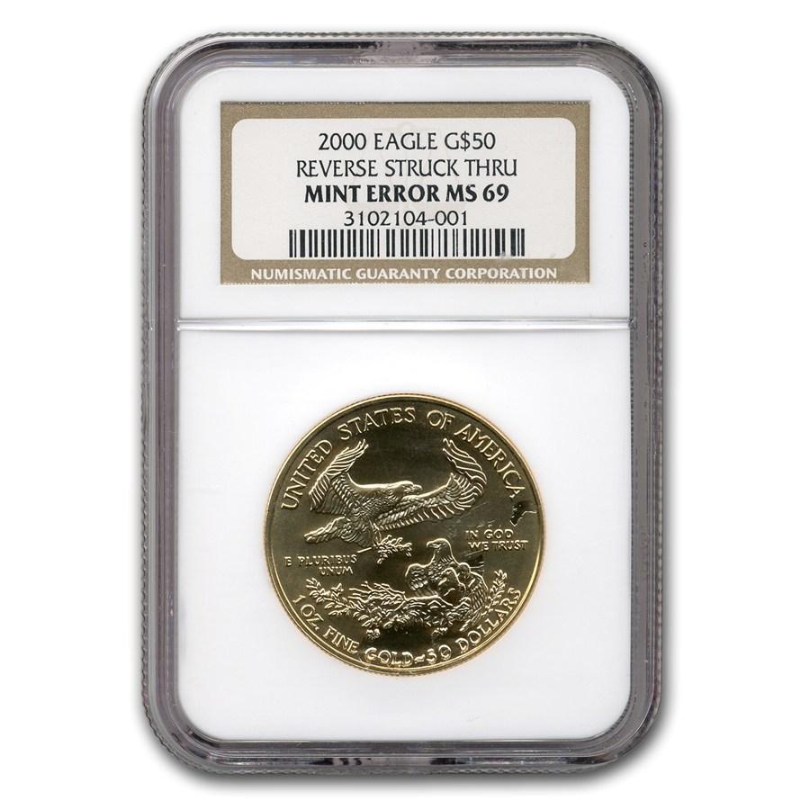 2000 1 Oz Gold American Eagle Ms 69 Ngc Rev Mint Error