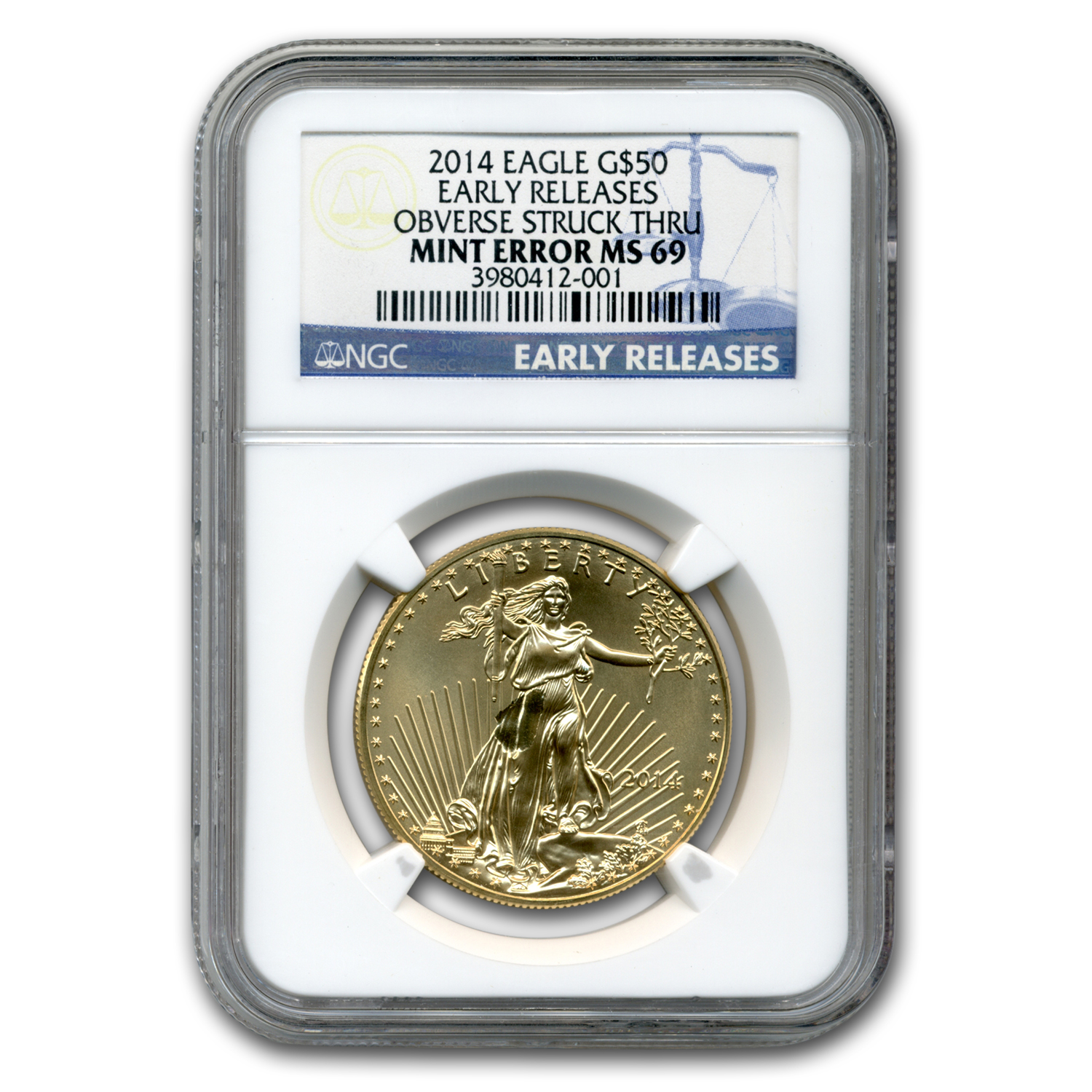 2014 1 oz Gold American Eagle MS-69 NGC ER (Obv Mint Error)
