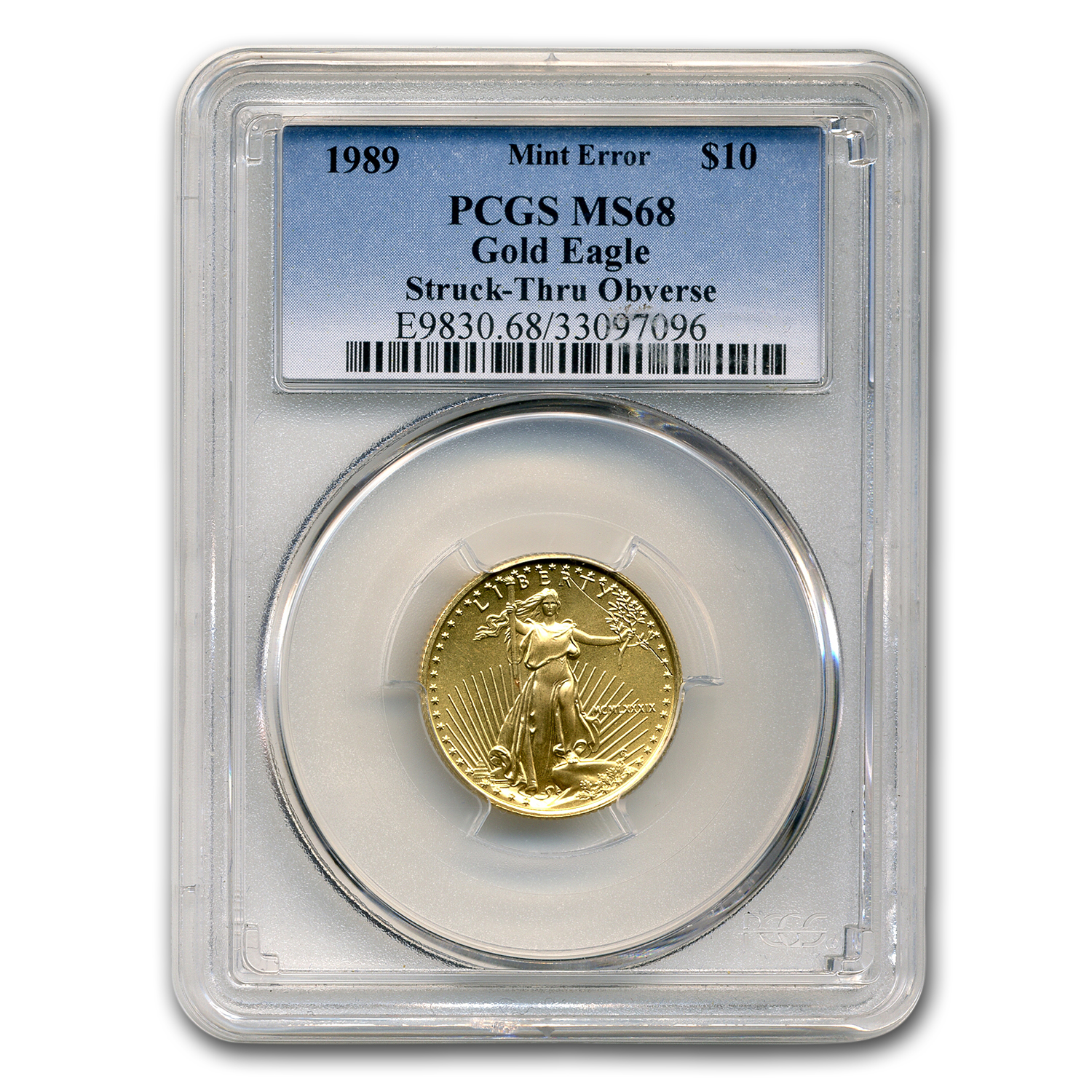 1989 1/4 oz Gold American Eagle MS-68 PCGS (Obv Mint Error)