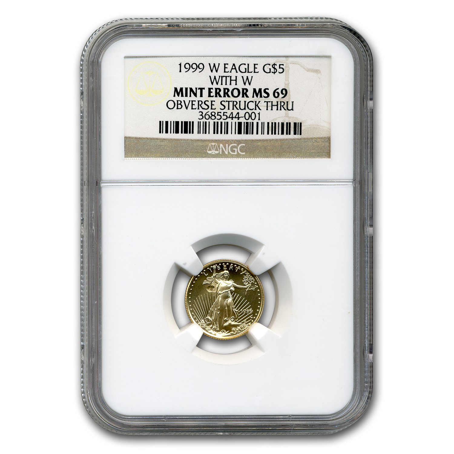 1999-W 1/10 oz Gold American Eagle MS-69 NGC (Obv Mint Error)