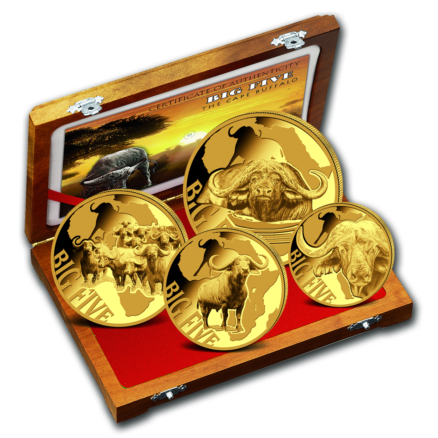 2016 Cameroon 4-Coin Gold Buffalo Proof Set (The Big Five)