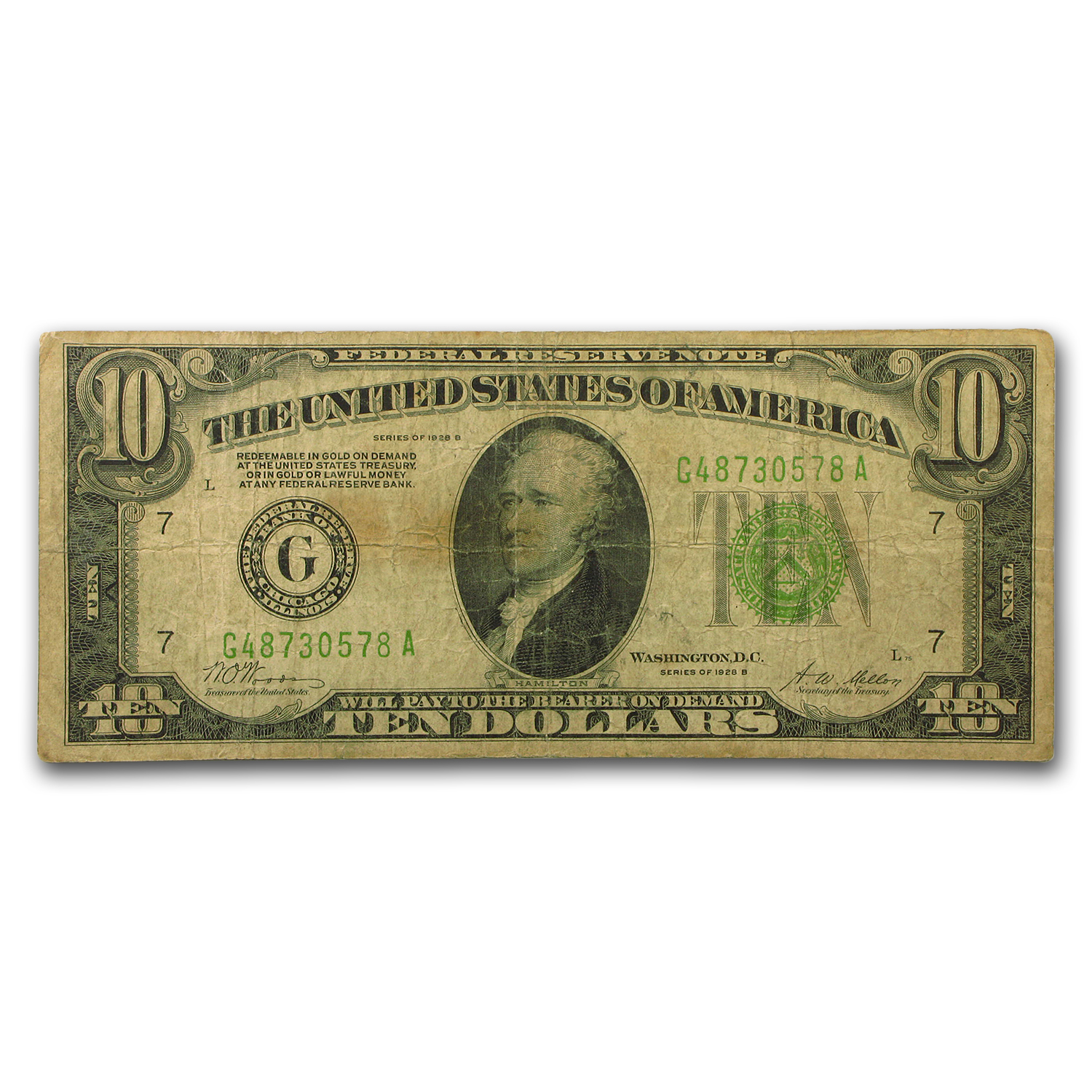 1928-B (G-Chicago) $10 FRN Fine
