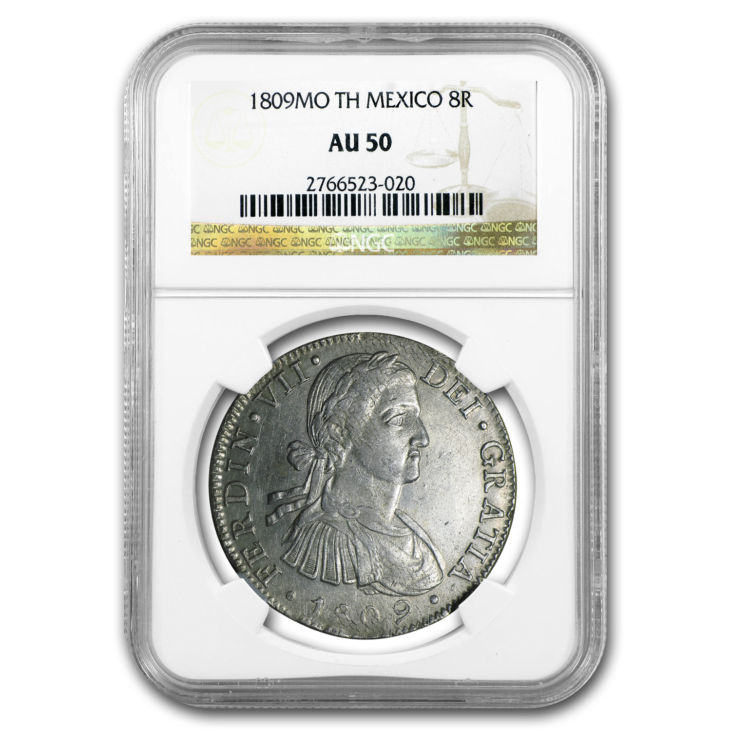 1809-Mo TH Mexico Silver 8 Reales AU-50 NGC
