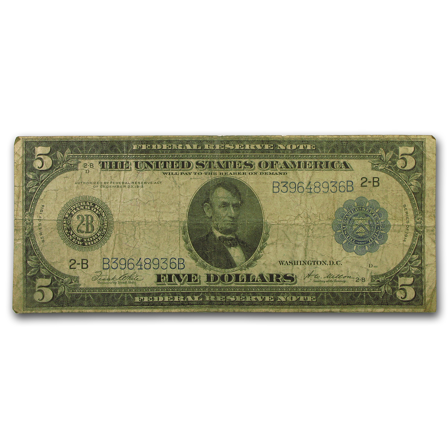 1914 (B-New York) $5.00 FRN VG
