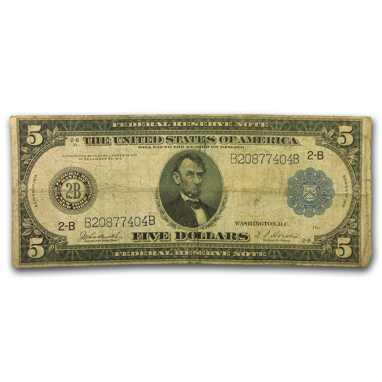 1914 (B-New York) $5.00 FRN VG (FR#850)